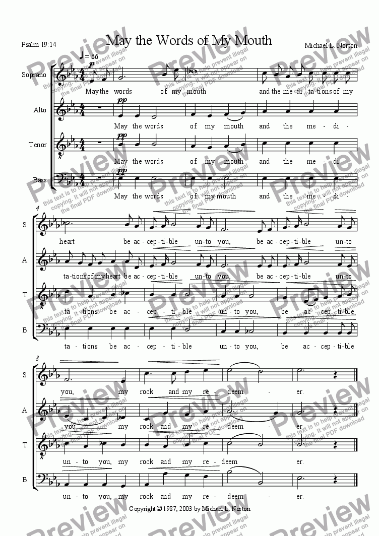 page one of May the Words of My Mouth (SATB a capella)