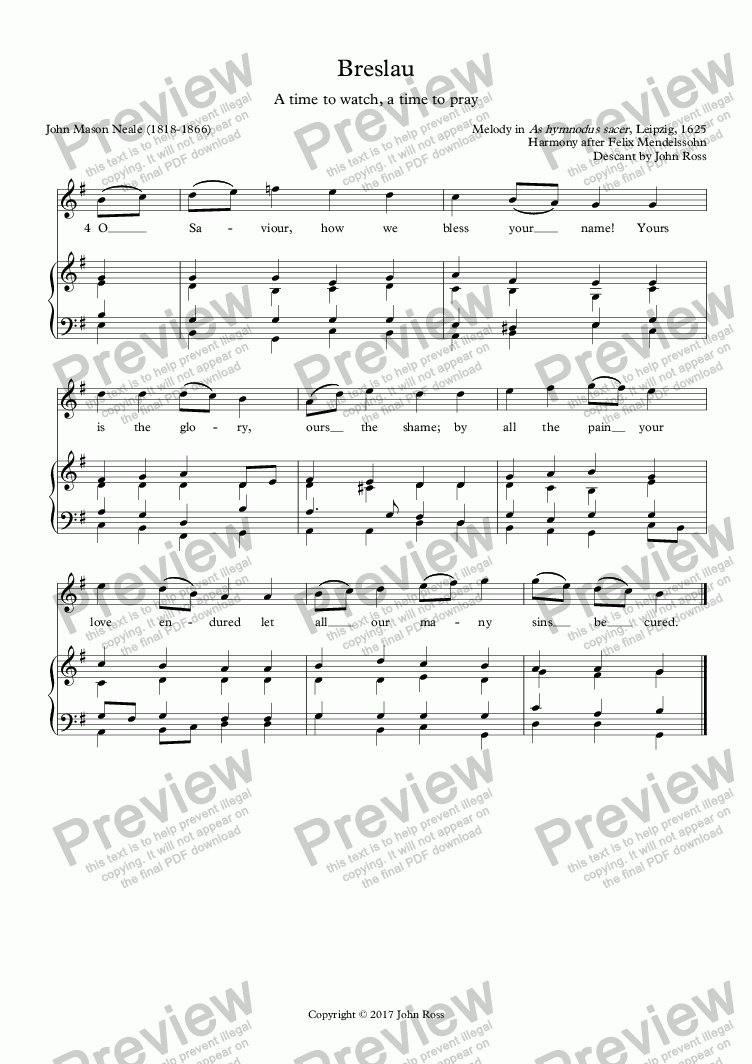 page one of Breslau (A time to watch, a time to pray) - Descant