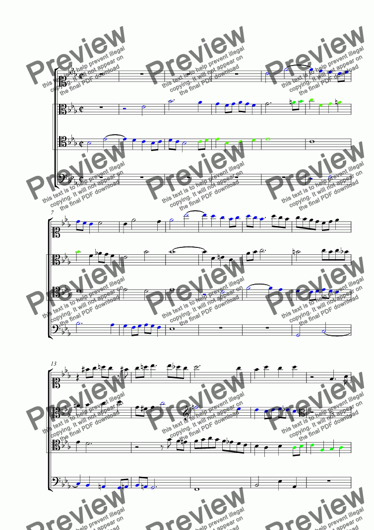 page one of Little Fugue in E-Flat Major
