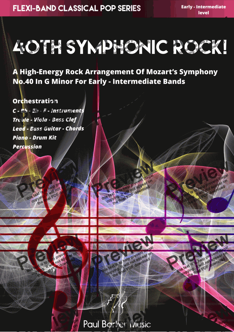 page one of Mozart's 40th Symphonic Rock (Flexi-Band)
