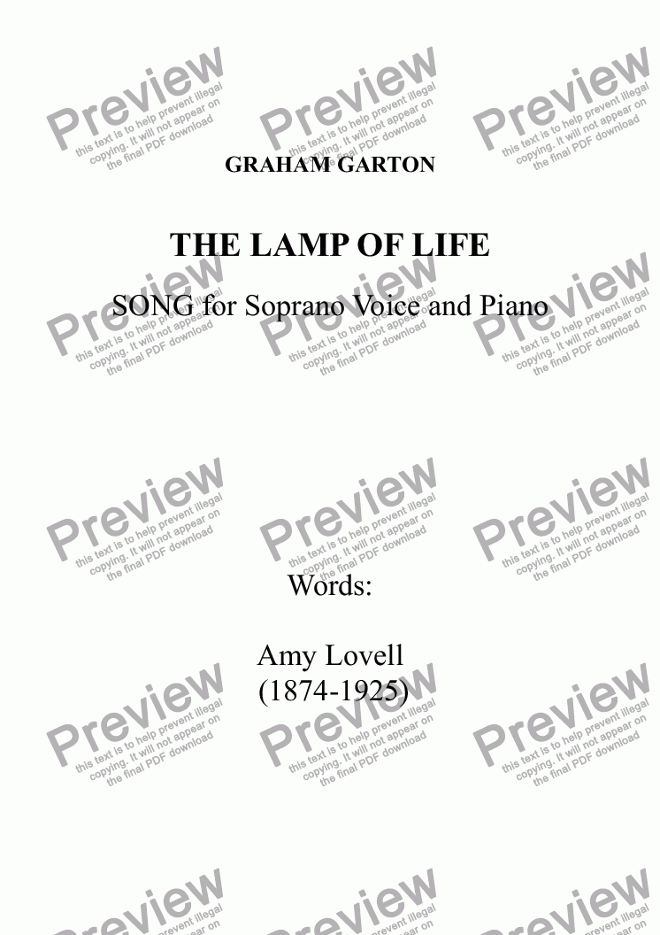 page one of THE LAMP OF LIFE