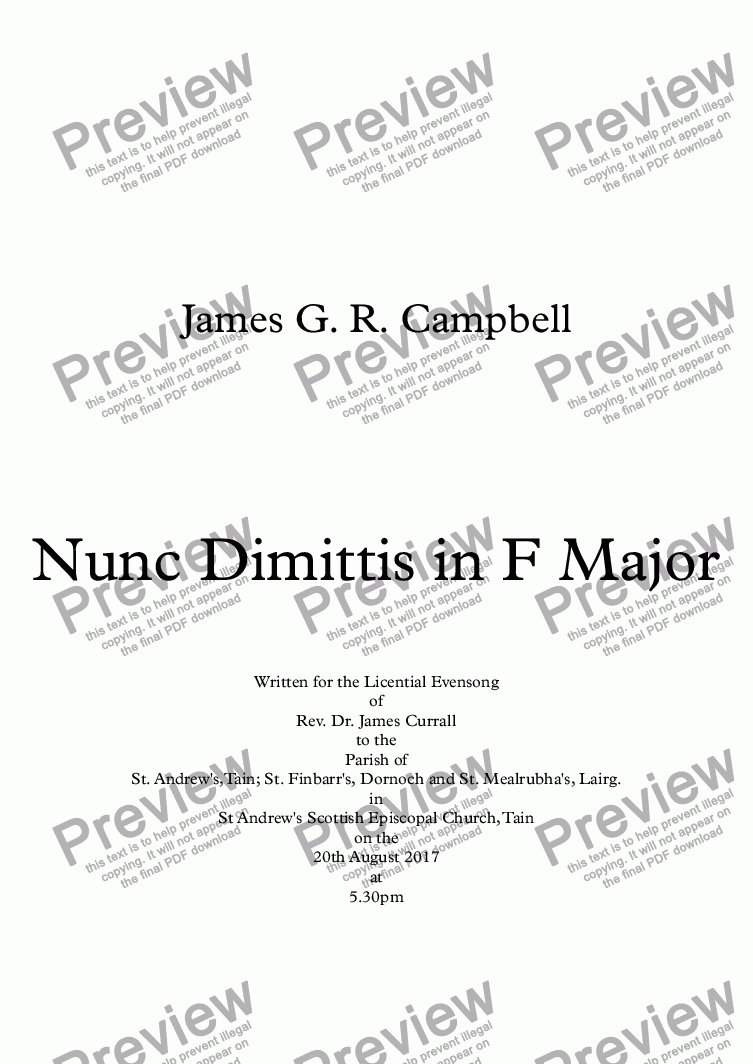 page one of Nunc Dimittis in F Major