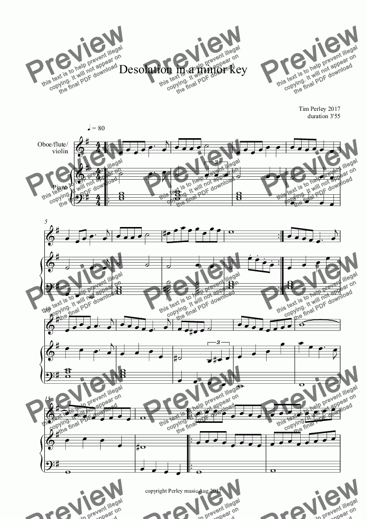 page one of Desolation in a minor key
