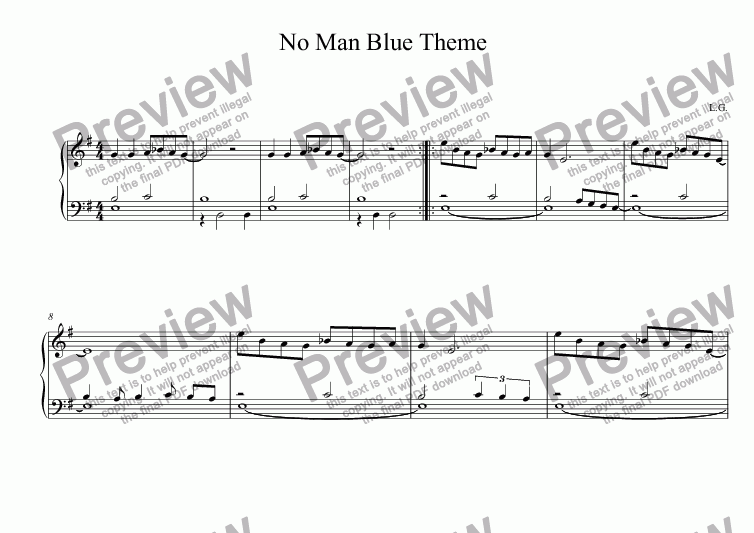 page one of No Man Blue - Theme (Piano Solo)