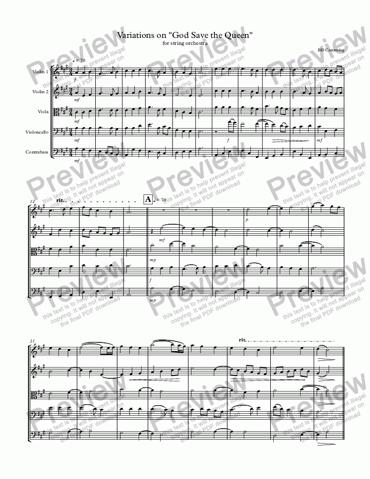 "page one of Variations on ""God Save the Queen"" for string orchestra"