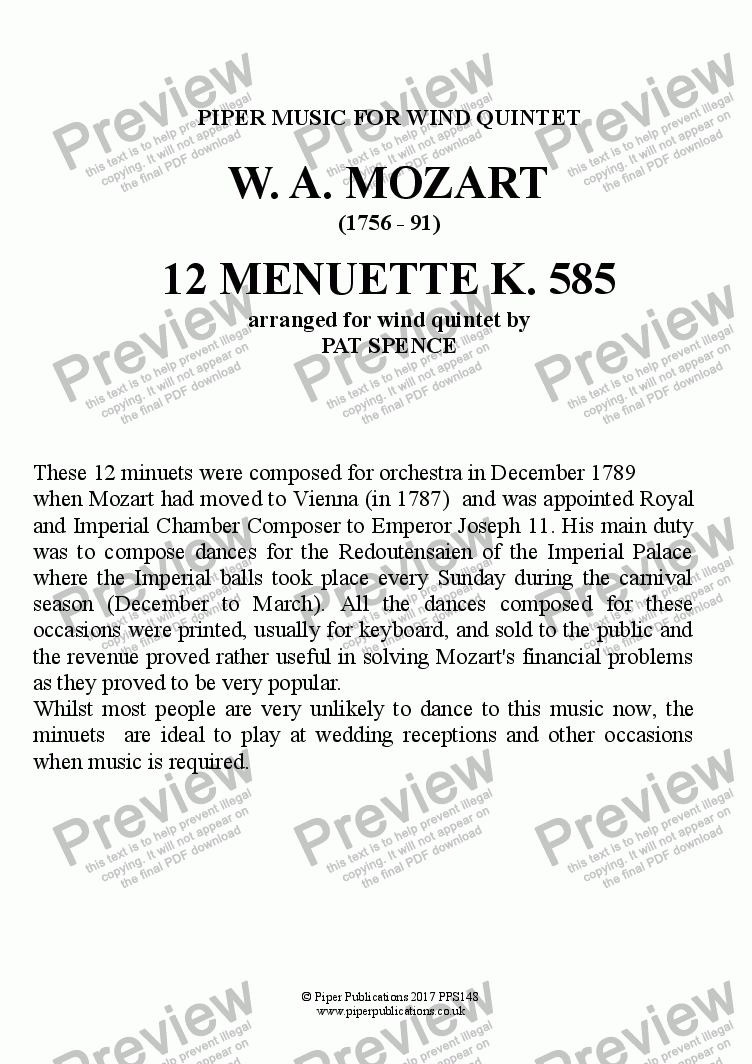 page one of MOZART 12 Menuette KV585