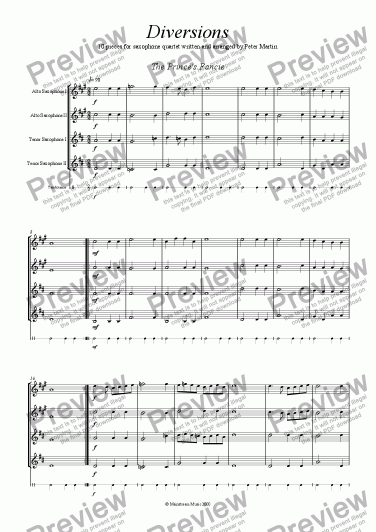 page one of 10 Diversions for Saxophone Quartet