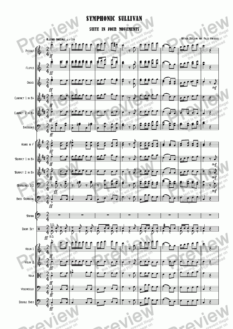 page one of Symphonic Sullivan  (Suite in Four Movements)