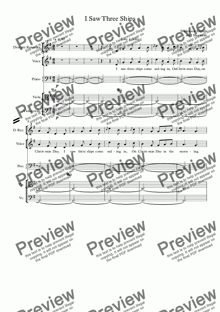 page one of I Saw Three Ships - Orchestral Arrangement & Descant (Christmas Carol)