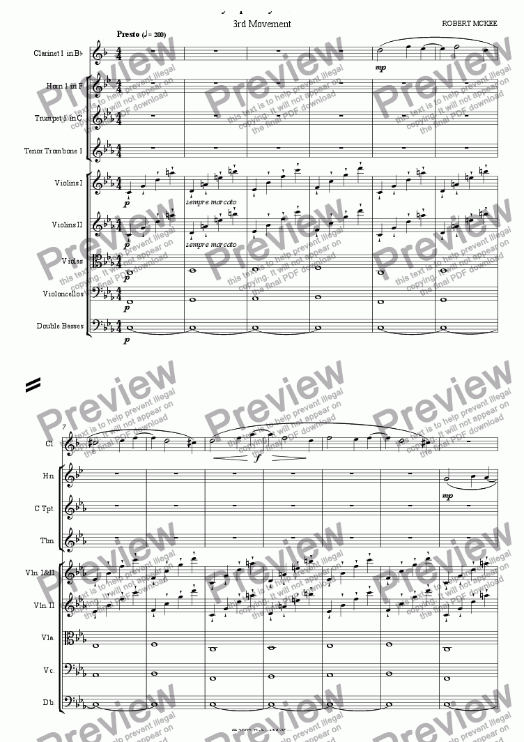 page one of Symphony No. 1, 3rd Movement