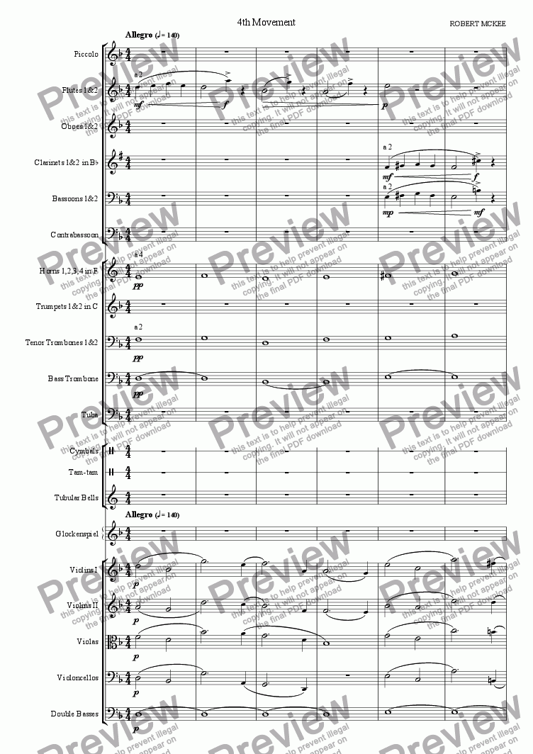 page one of Symphony No. 1, 4th MovementASALTTEXT