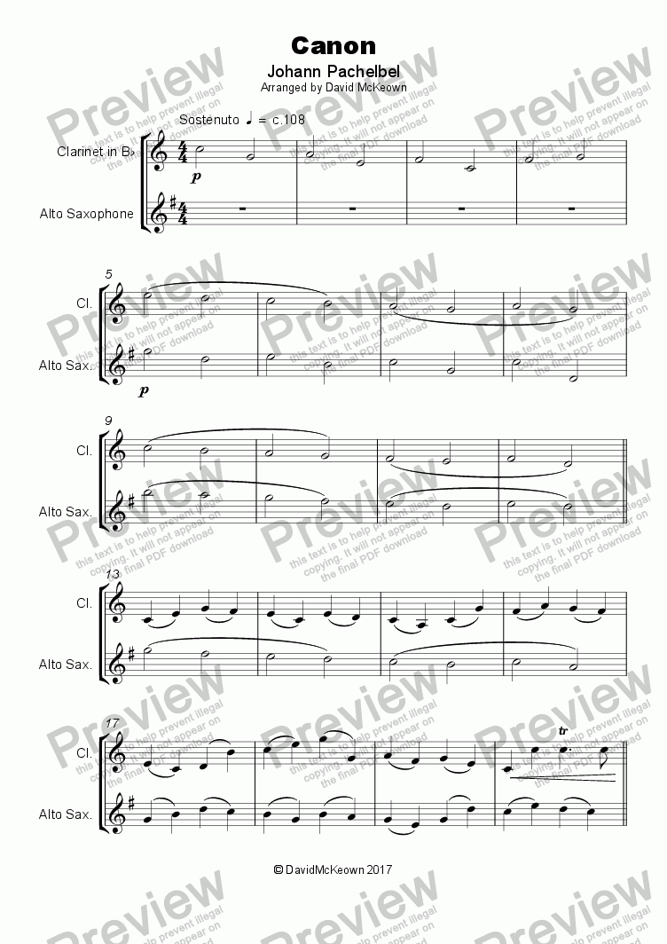 page one of Pachelbel's Canon, Duet for Clarinet and Saxophone (with optional bass part)