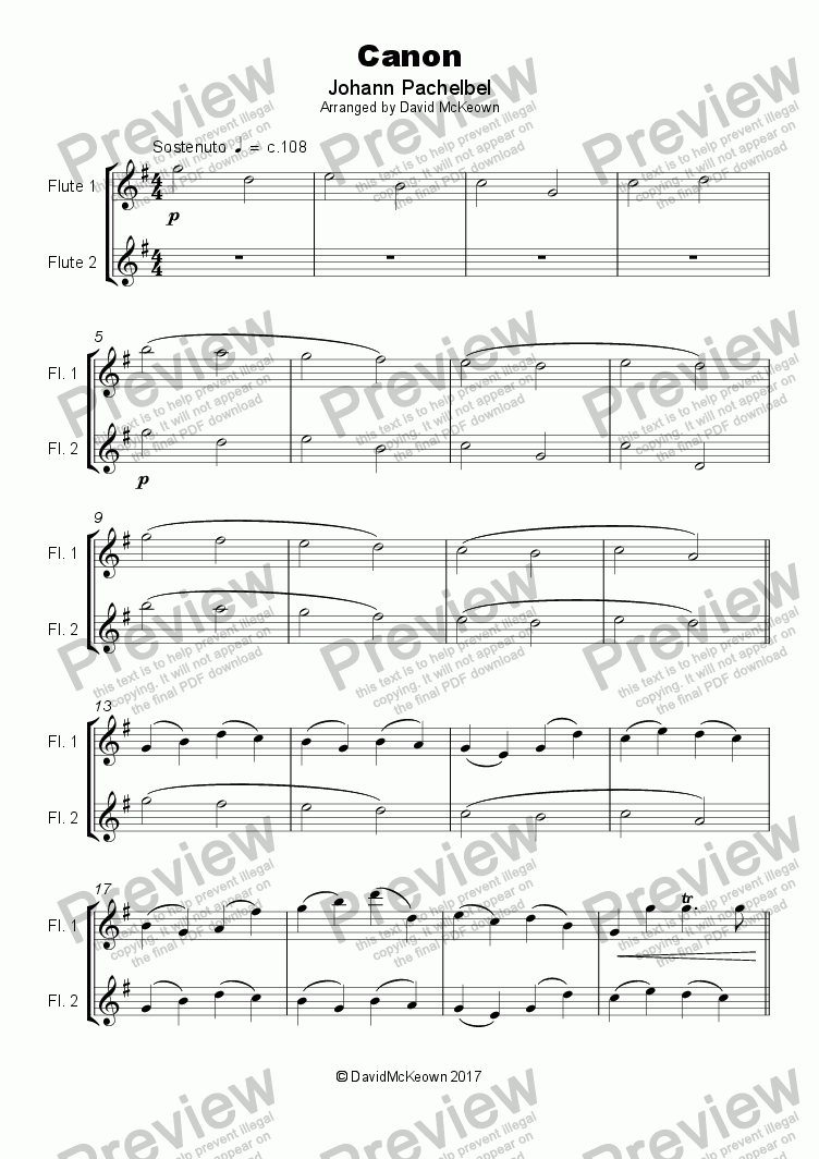 page one of Pachelbel's Canon, Duet for Flute (with optional bass part)