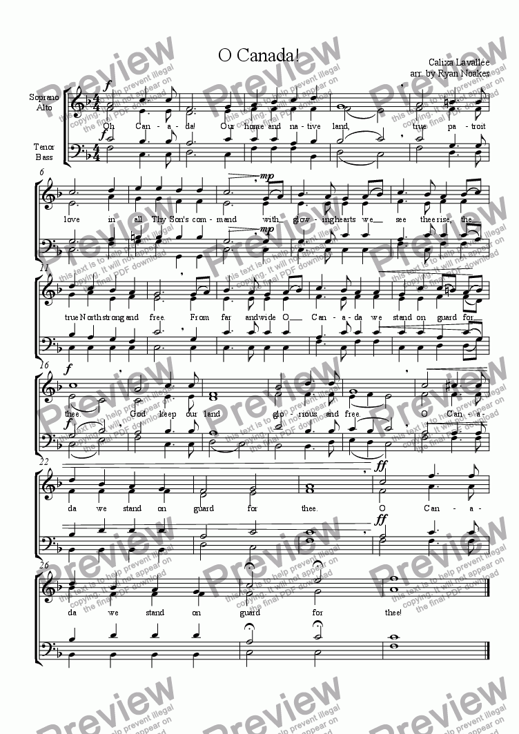 page one of O Canada! (SATB)