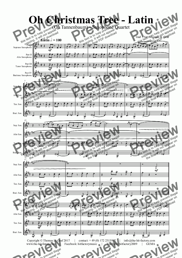 Oh Tannenbaum Oh.Oh Christmas Tree Latin Oh Tannenbaum Saxophone Quartet For Saxophone Quartet By Trad Arr Thomas H Graf Sheet Music Pdf File To Download