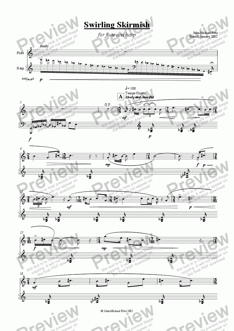 page one of Swirling Skirmish (flute & harp) [2002]
