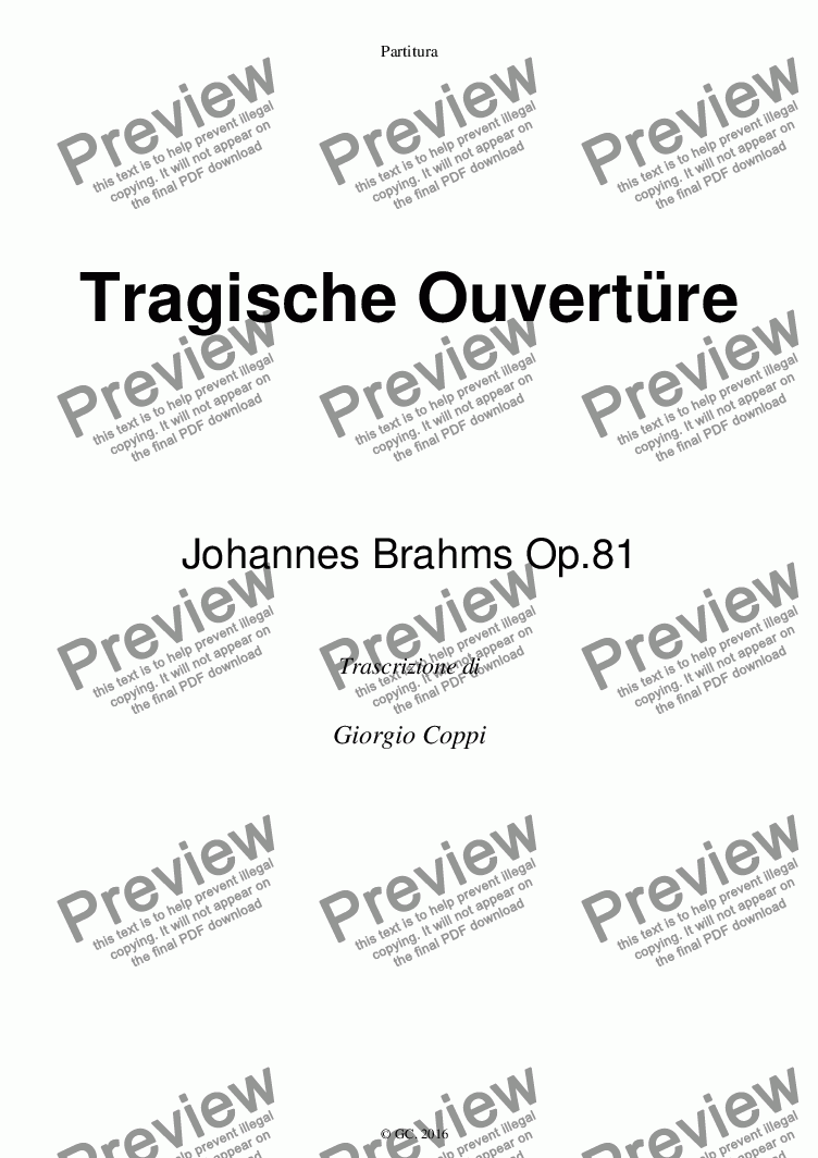 page one of Ouverture Tragica - J. Brahms