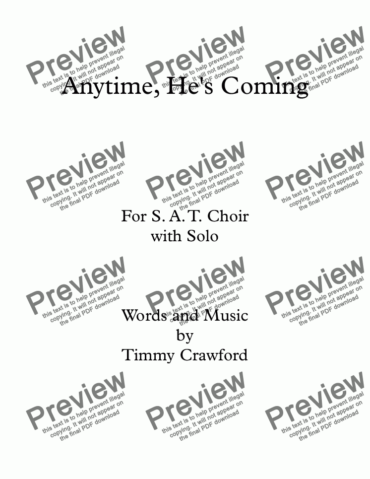 page one of Anytime, He's Coming