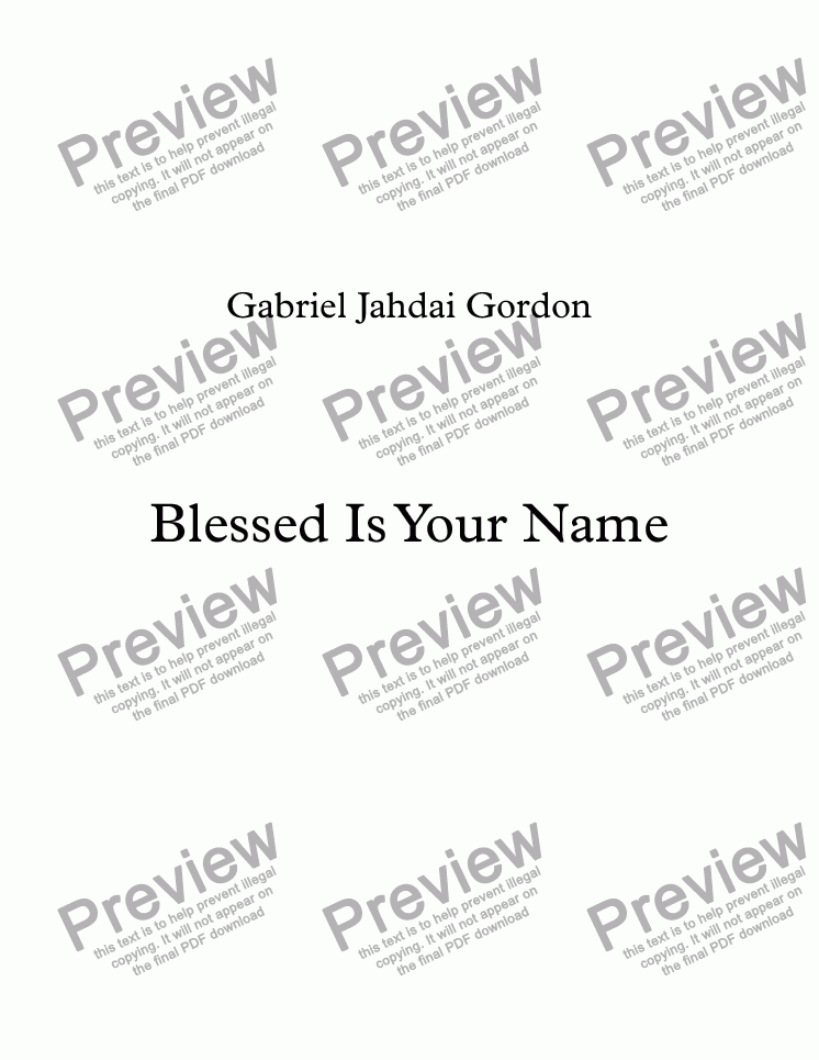 page one of Blessed Is Your Name