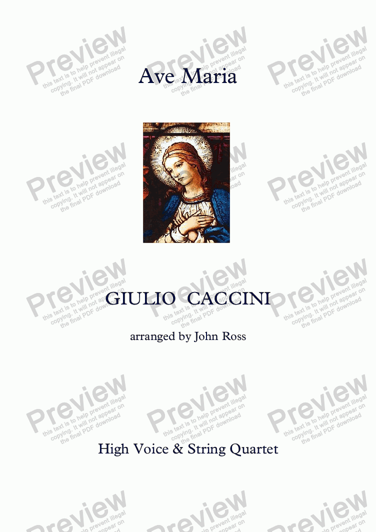 page one of Ave Maria (Caccini) (High Voice, String Quartet)