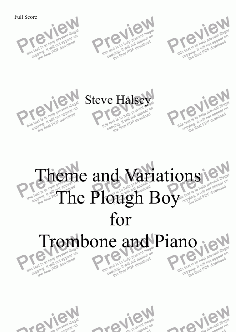 page one of Theme and Variations   The Plough Boy for Trombone and Piano