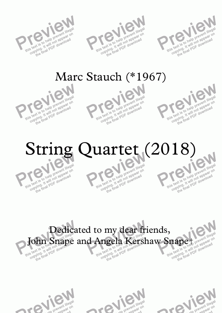 page one of String Quartet - 1st movt