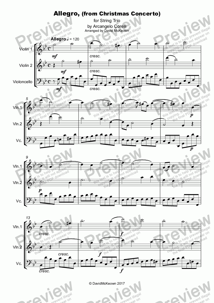 page one of Christmas Concerto, Allegro, by Corelli; for String Trio, two Violins and one Cello