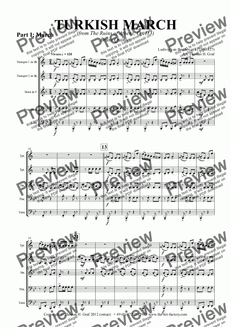 page one of TURKISH MARCH Brass Quintet