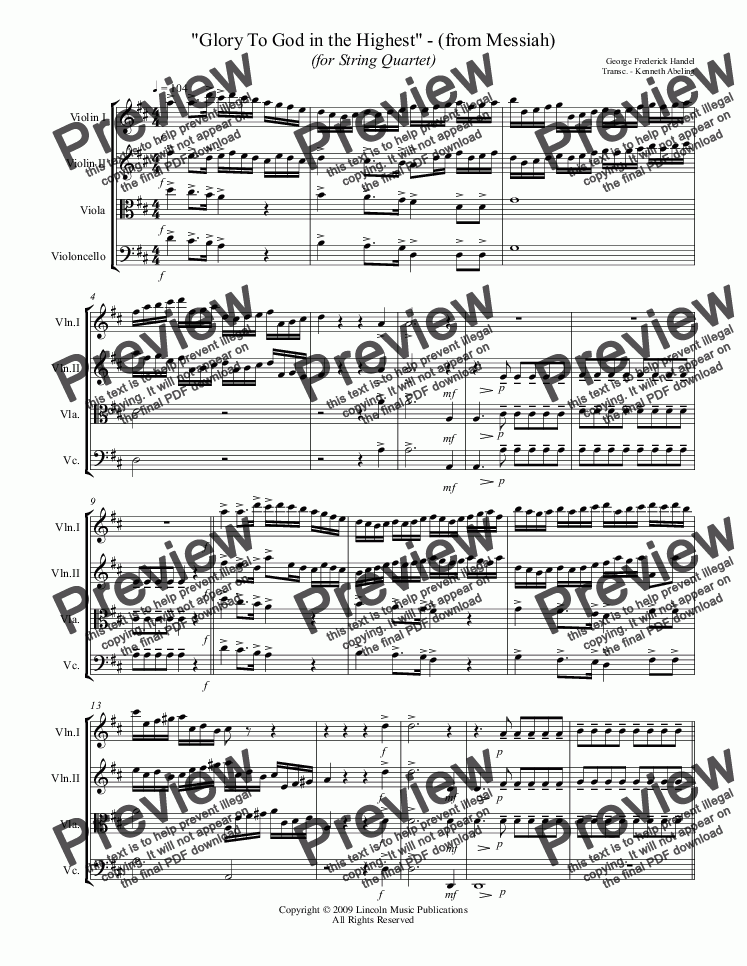 "page one of Handel - ""Glory To God in the Highest"" - (from Messiah) (for String Quartet)"
