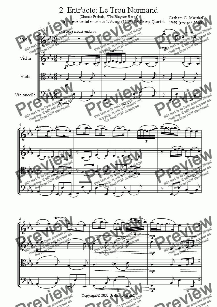 page one of INCIDENTAL MUSIC TO L'.AVARE 2. Entr'acte, 'Le Trou Normand'