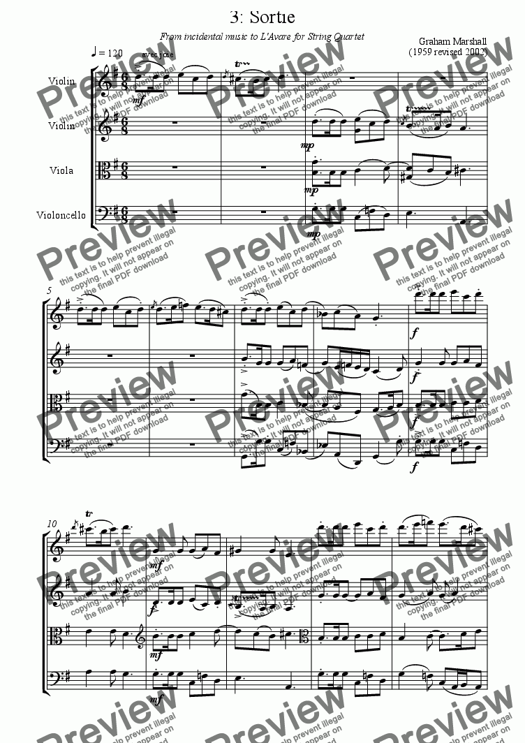 page one of INCIDENTAL MUSIC TO L'AVARE 3. Sortie