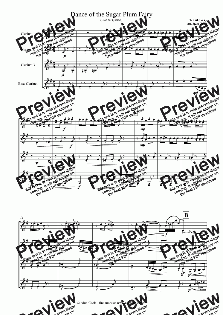 page one of Nutcracker - Sugar-Plum Fairy  (Clarinet Quartet)