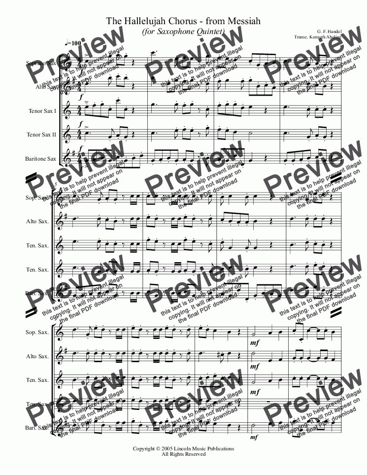 page one of Handel - The Hallelujah Chorus - from Messiah (for Saxophone Quintet SATTB)