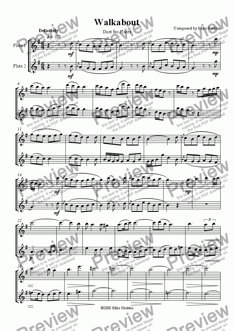page one of Walkabout - Duet for Flutes