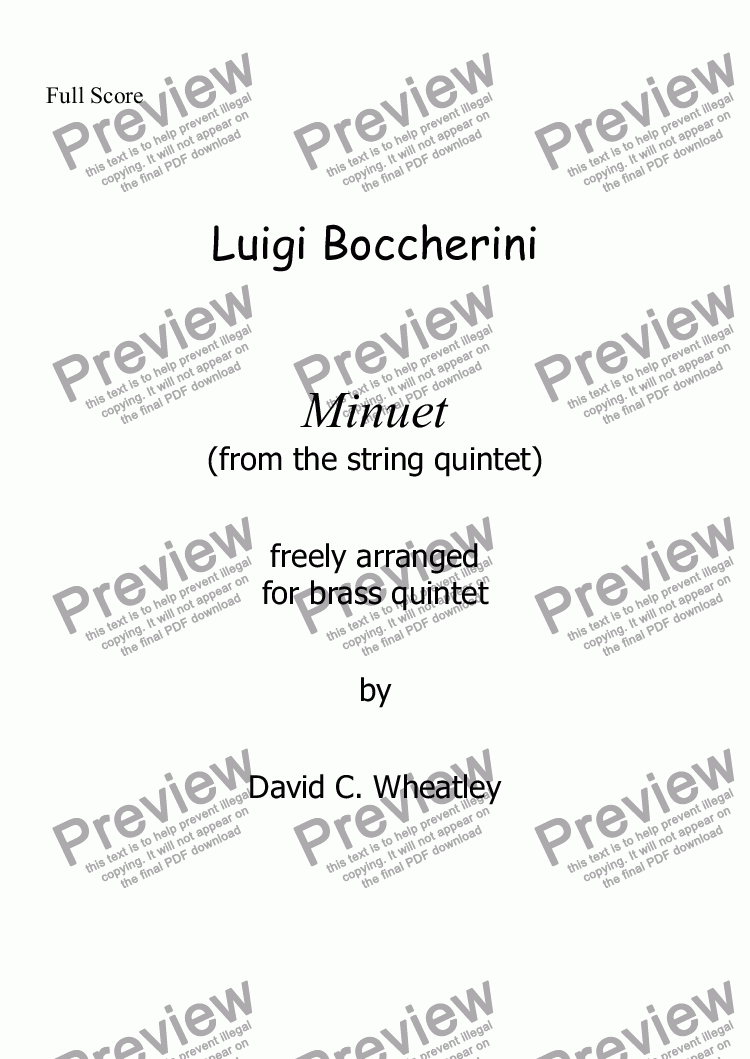 page one of Boccherini - Minuet (from the string quintet)  freely arranged for brass quintet