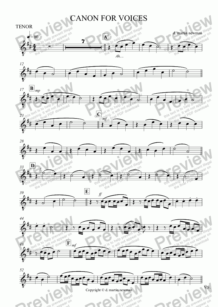 page one of CANON FOR VOICES - Tenor