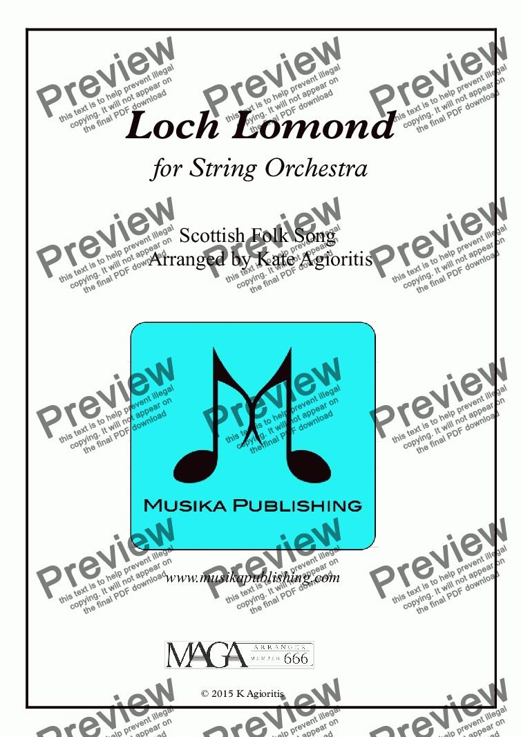 page one of Loch Lomond - String Orchestra