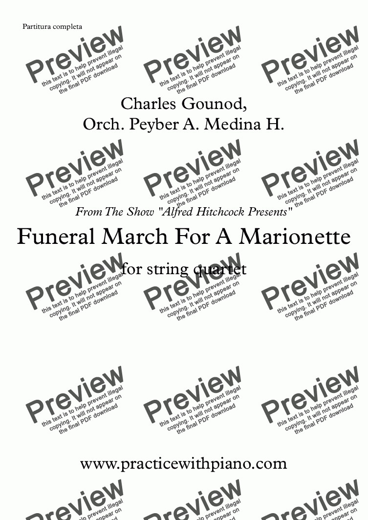 "page one of Funeral March For A Marionette - string quartet - ""Alfred Hitchcock Presents"" Theme"