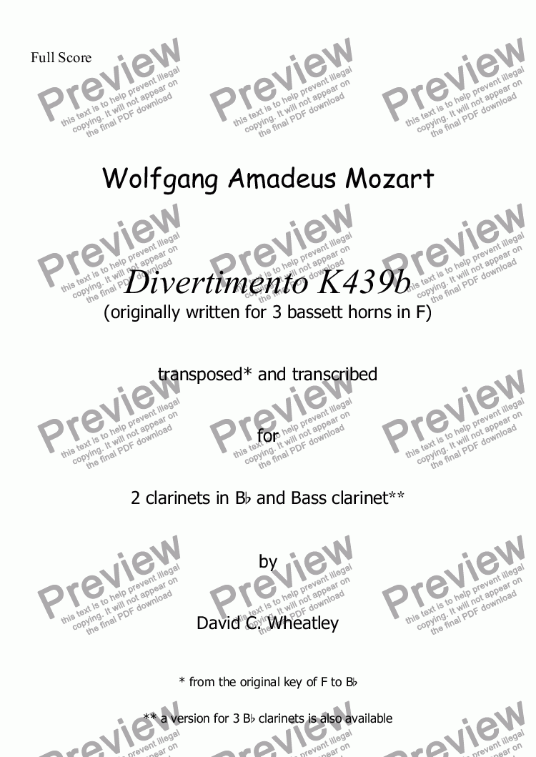 page one of Mozart - Divertimento K439b no 1 for clarinet trio (2xBb and Bass) transcribed by David Wheatley