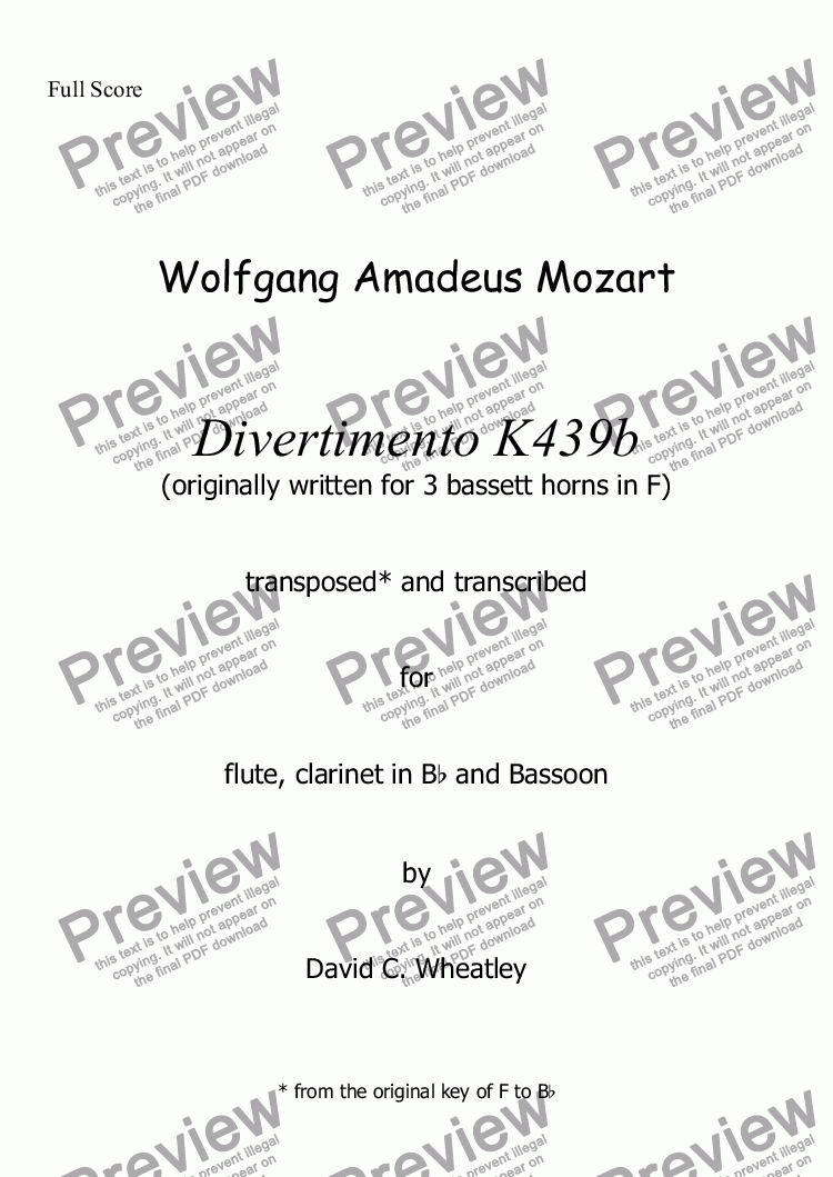page one of Mozart - divertimento K439b no 1 for flute clarinet and bassoon transcribed by David Wheatley