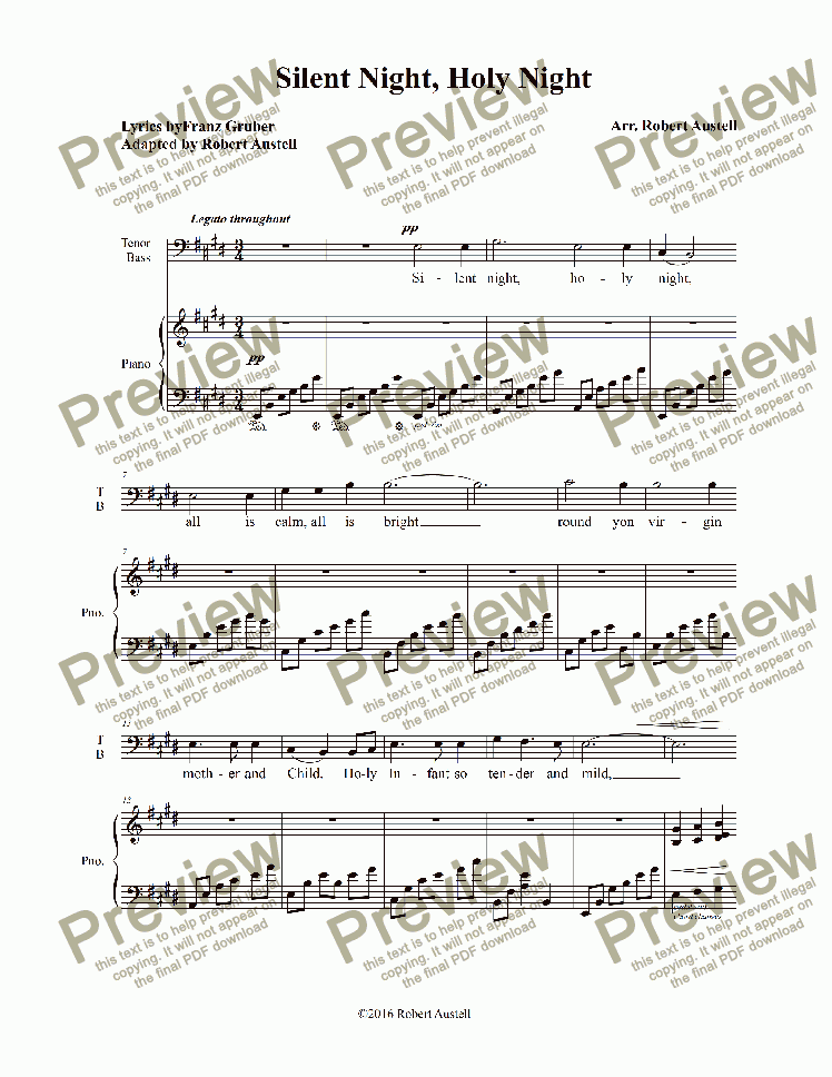 page one of Silent Night (alt. melody)