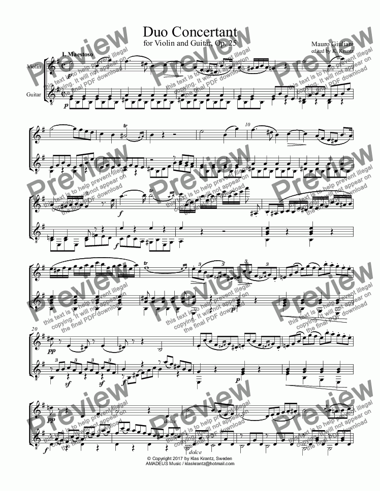 page one of Duo Concertant for Violin and Guitar, Op. 25