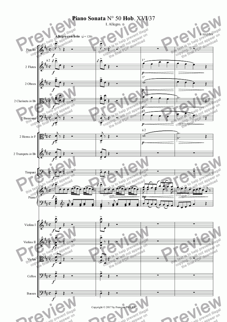 page one of HAYDN Piano Sonata N° 50 I.Allegro.