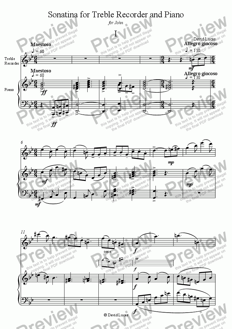 page one of Sonatina for Treble Recorder and Piano