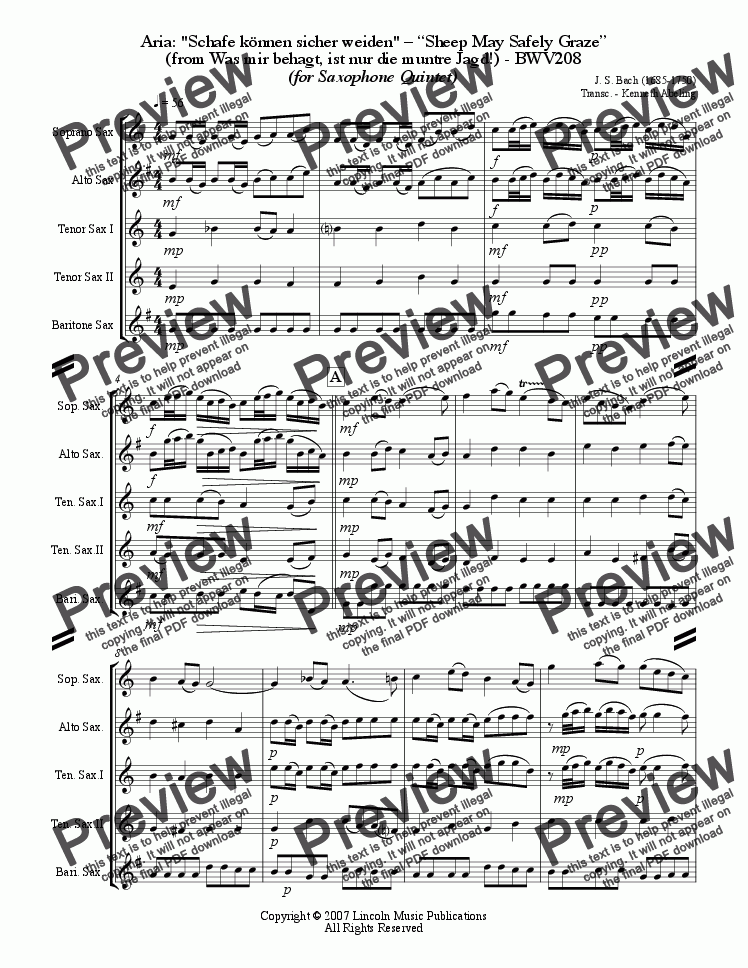 page one of Bach - Sheep May Safely Graze (Saxophone Quintet SATTB)