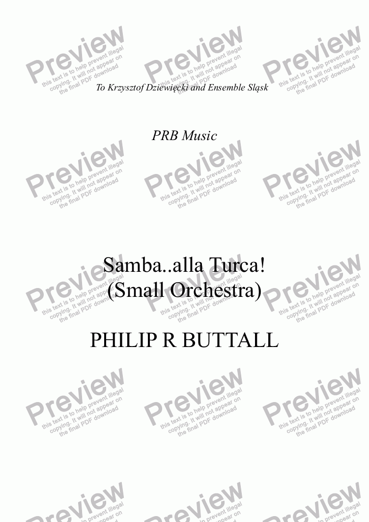 page one of Samba..alla Turca! (Small Orchestra)