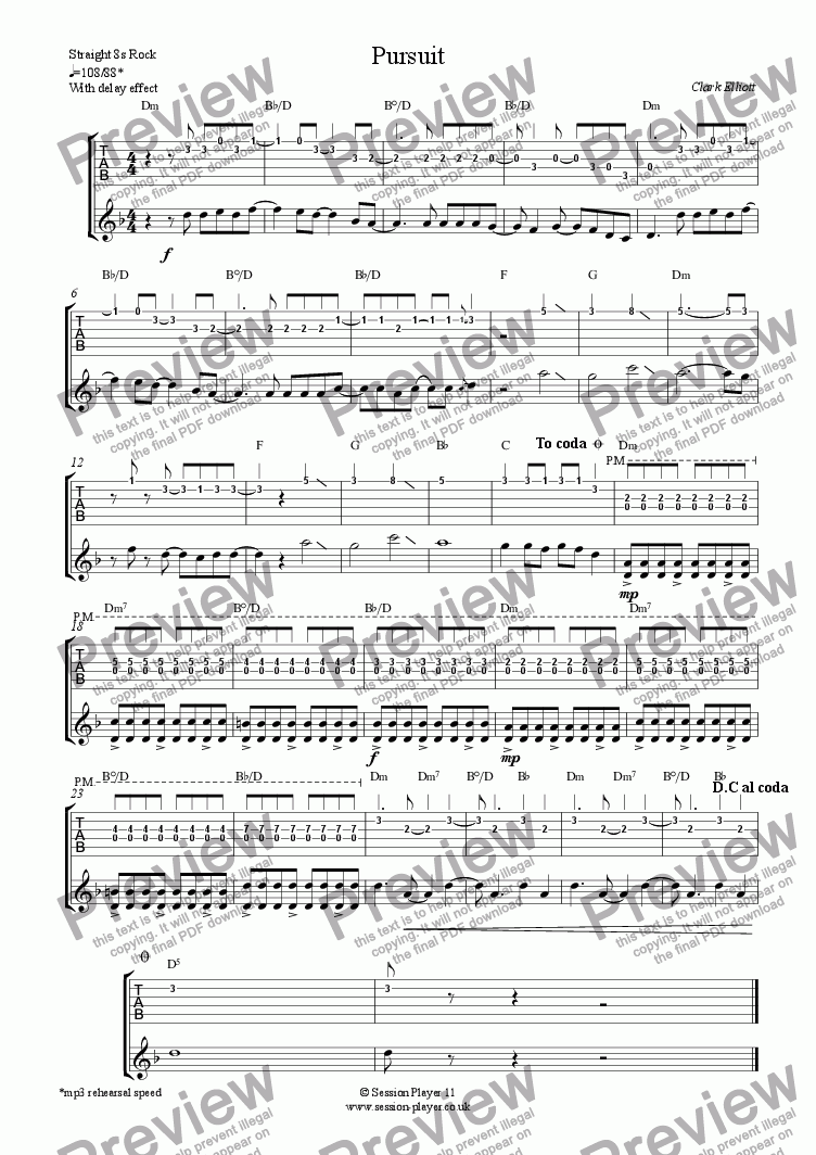 page one of Guitar Level 2 - Pursuit