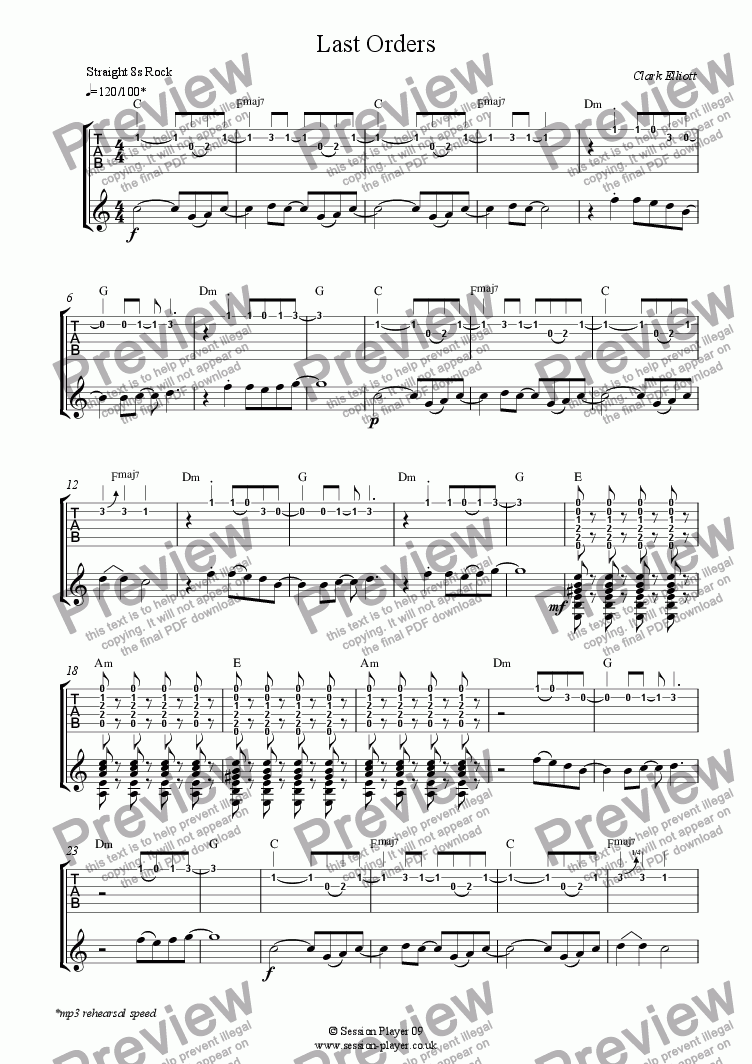 page one of Guitar Level 2 - Last Orders