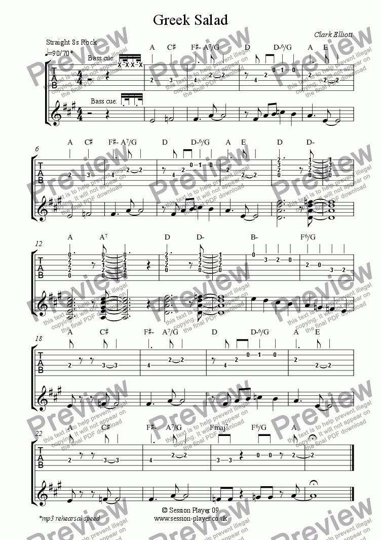 page one of Guitar Level 1 - Greek Salad