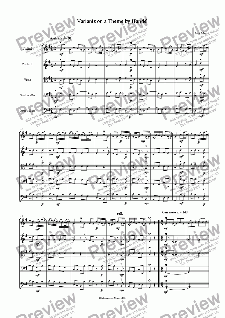 page one of Variants on a Theme by Handel